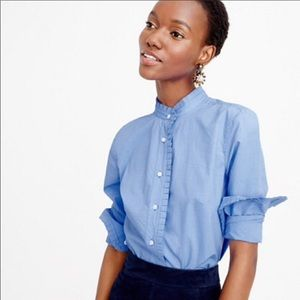 J.Crew blue button down with ruffles size 0